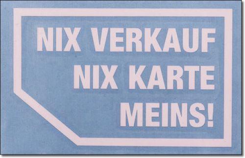 Nix Verkauf Nix Karte Typ 1 Weiss 2er Set X Parts Auto Aufkleber
