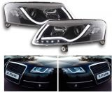 Audi A6 C6 4F Front Scheinwerfer LED LightBar Tagfahrlicht SCHWARZ