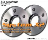Spurverbreiterung 20 mm pro Achse - System A mit Zentrierung - Lochkreis 4x100 + 4x108 - NLB 57,1 mm