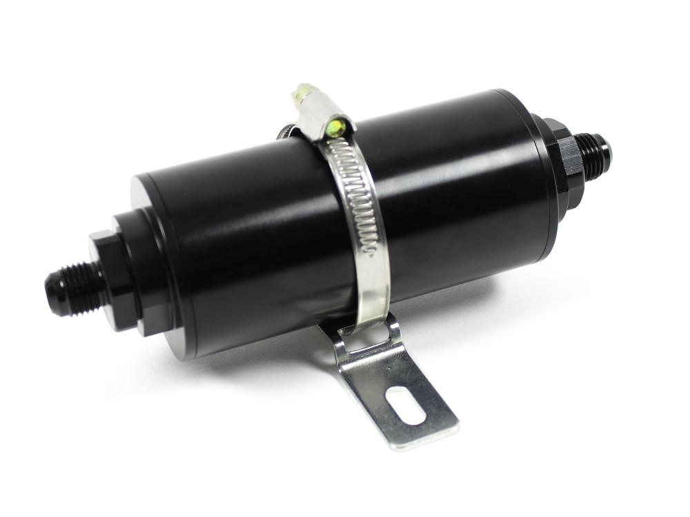 Kraftstofffilter Motorsport auswaschbar 50mm BenzinFilter HighFlow Schwarz 8,6mm