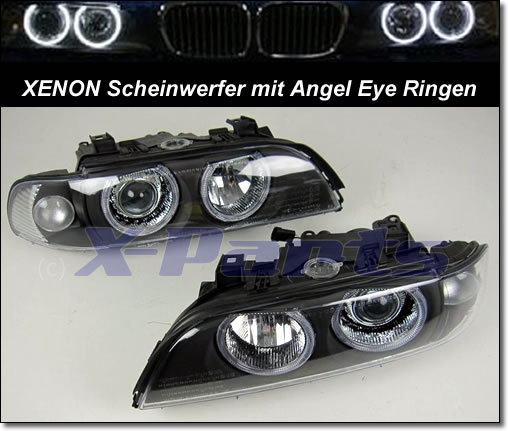 bmw e39 5er front scheinwerfer xenon angel eyes schwarz. Black Bedroom Furniture Sets. Home Design Ideas