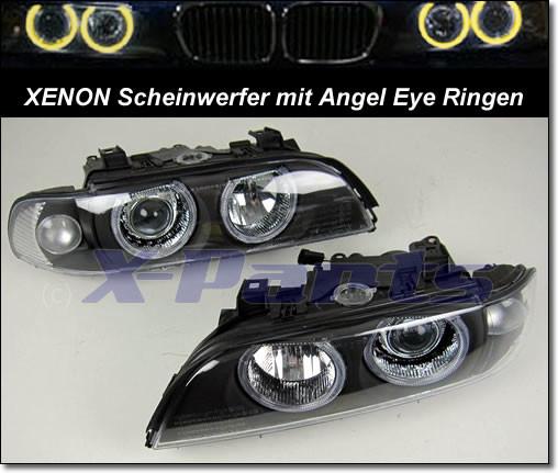 bmw e39 5er front scheinwerfer xenon angel eyes schwarz. Black Bedroom Furniture Sets. Home Design Ideas
