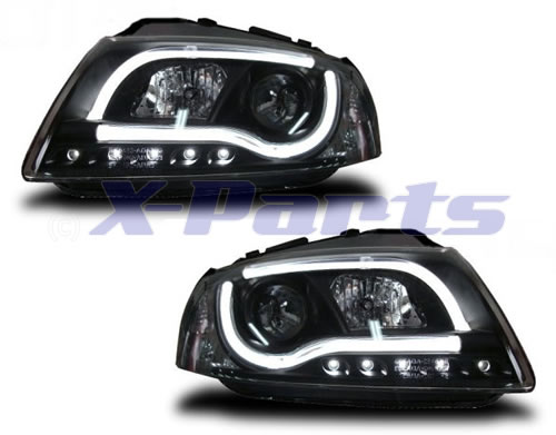 audi a3 8p led front scheinwerfer lightbar schwarz. Black Bedroom Furniture Sets. Home Design Ideas