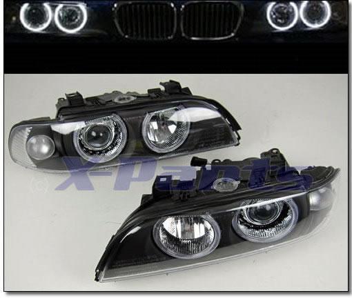 BMW E39 5er Front Scheinwerfer Angel Eyes SCHWARZ