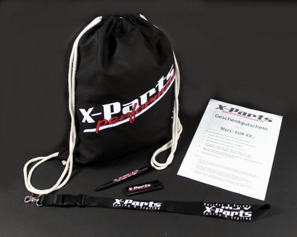 X-Parts Geschenkgutschein mit Fanpaket Lieferumfang